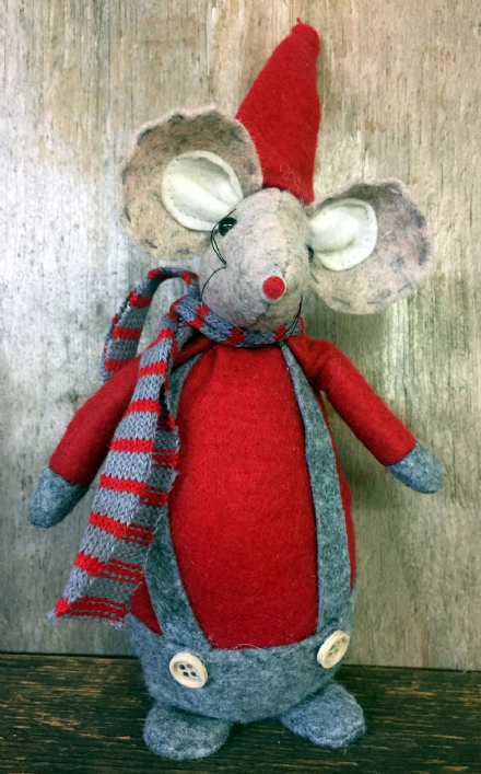 Big Belly Mouse in Clothes Christmas Ornament - Red